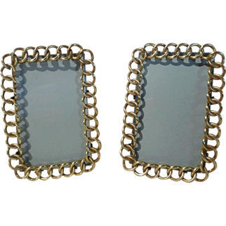"English BRASS Ring CDV Picture Frames 4 3/4"" tall PAIR"