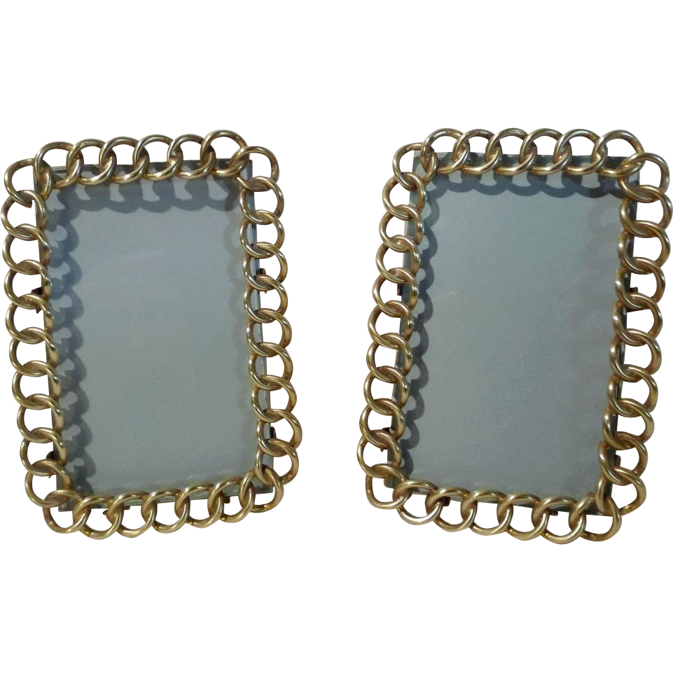 """English BRASS Ring CDV Picture Frames 4 3/4"""" tall PAIR"""