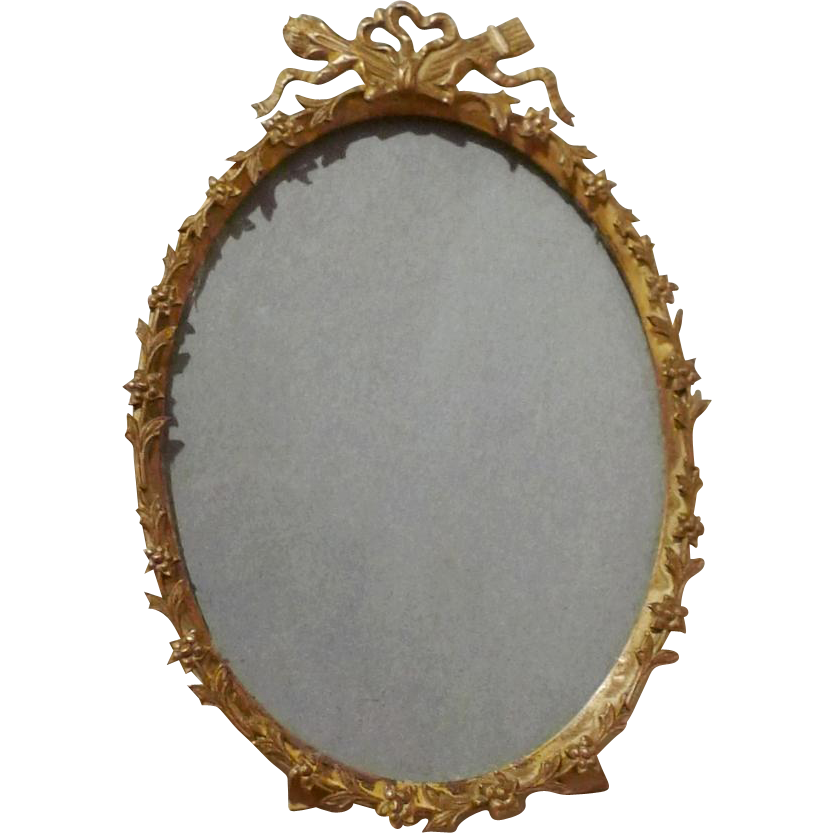 FRENCH Style Oval Frame Convex Glass ca. 1910