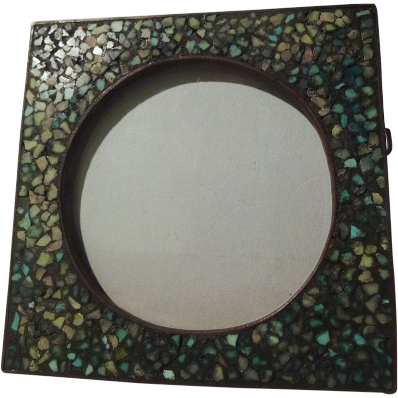 "TURQUOISE Inlaid Mosaic 3"" Picture Frame ca. 1900"