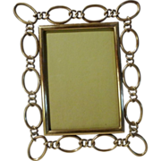"ENGLISH Brass 1890s Frame with Oval Rings  8 3/4"" Tall"