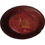19th c. PAPIER Mache  Miniature Oval Tray - Red Tag Sale Item