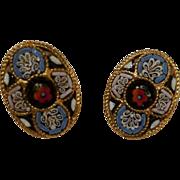 Oval MOSAIC Vintage Clip Earrings Circa 1970s