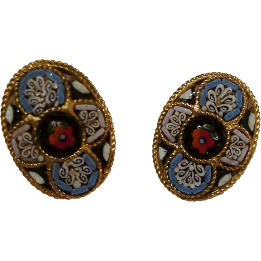 Oval MOSAIC Vintage Clip Earrings Circa 1970s