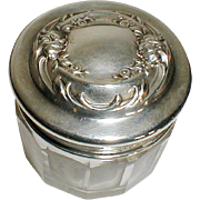 American Repousse Sterling Top Crystal Powder Jar