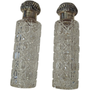 Cut Glass STERLING Top Cologne Bottles 1901 Pair