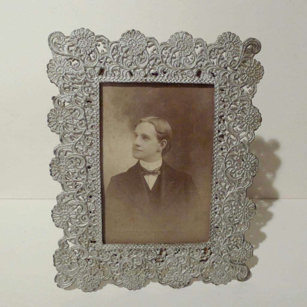 FILIGREE White Metal Picture Frame 1880s