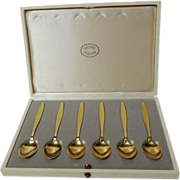 6 GEORG JENSEN Sterling/Vermeil Enamel Spoons in Box