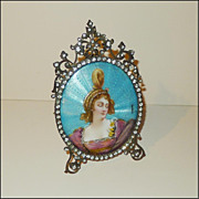 FRENCH ENAMEL on Copper sgn.  Dorval in Paste Frame
