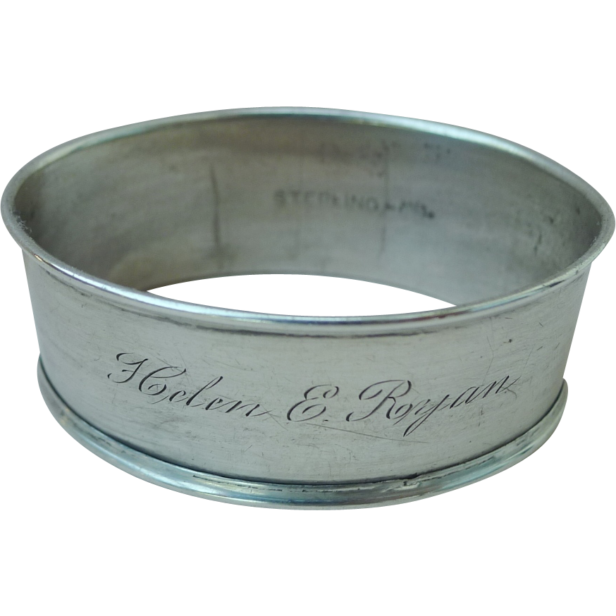 "WEBSTER Sterling Napkin Ring ""Helen E. Ryan"""