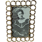 Antique English Brass Ring CDV Photo Frame