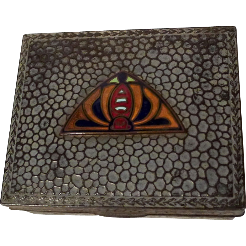 ART DECO Enamel & Hammered Metal Cigarette Box