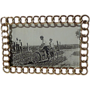 HORIZONTAL English Brass Miniature Antique Ring Picture Frame