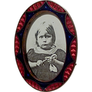 Miniature Oval Guilloche ENAMEL Frame Art Deco