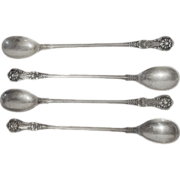 "4 TIFFANY Sterling ""English King"" Iced Tea Spoons"