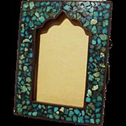 Turquoise Miniature Inlaid Mosaic Moorish Arch Frame