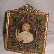 French BRONZE  BEADED Frame with Convex Glass 1870s