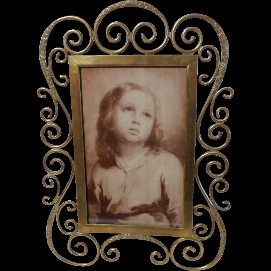 "ART NOUVEAU Scrolled Brass Curlicue Picture Frame 10"" high"