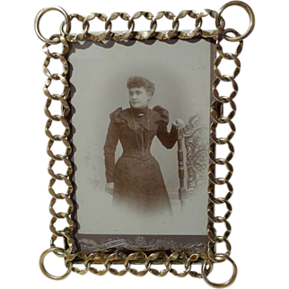 English BRASS Patterned RING Picture Frame Beveled Glass