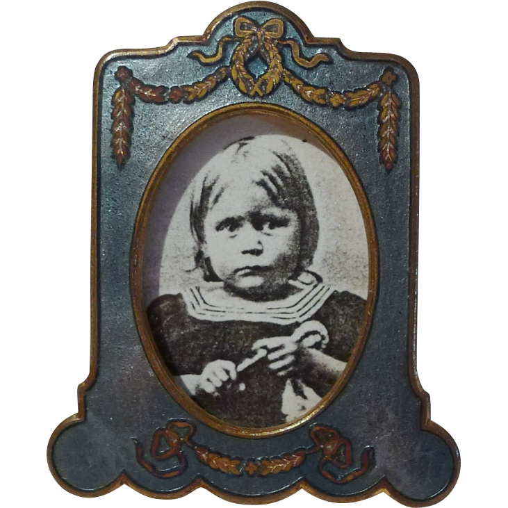 Miniature ENAMEL Picture Frame with Bow 1920s
