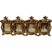 "ART NOUVEAU 4-Opening ""Postage Stamp"" Miniature Frame"