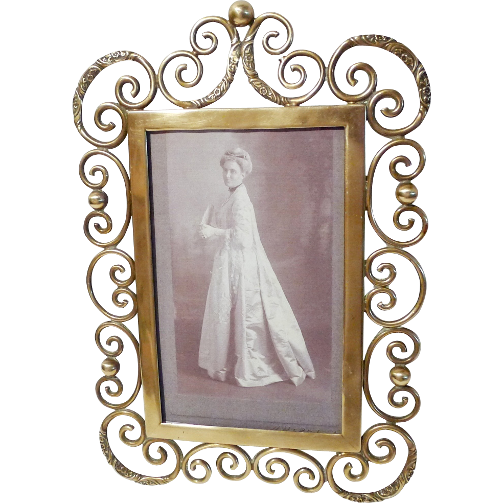 """1890s Brass Curly Ornate Scrolls 10"""" Picture Frame"""