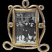 ART NOUVEAU English Brass Miniature Picture Frame