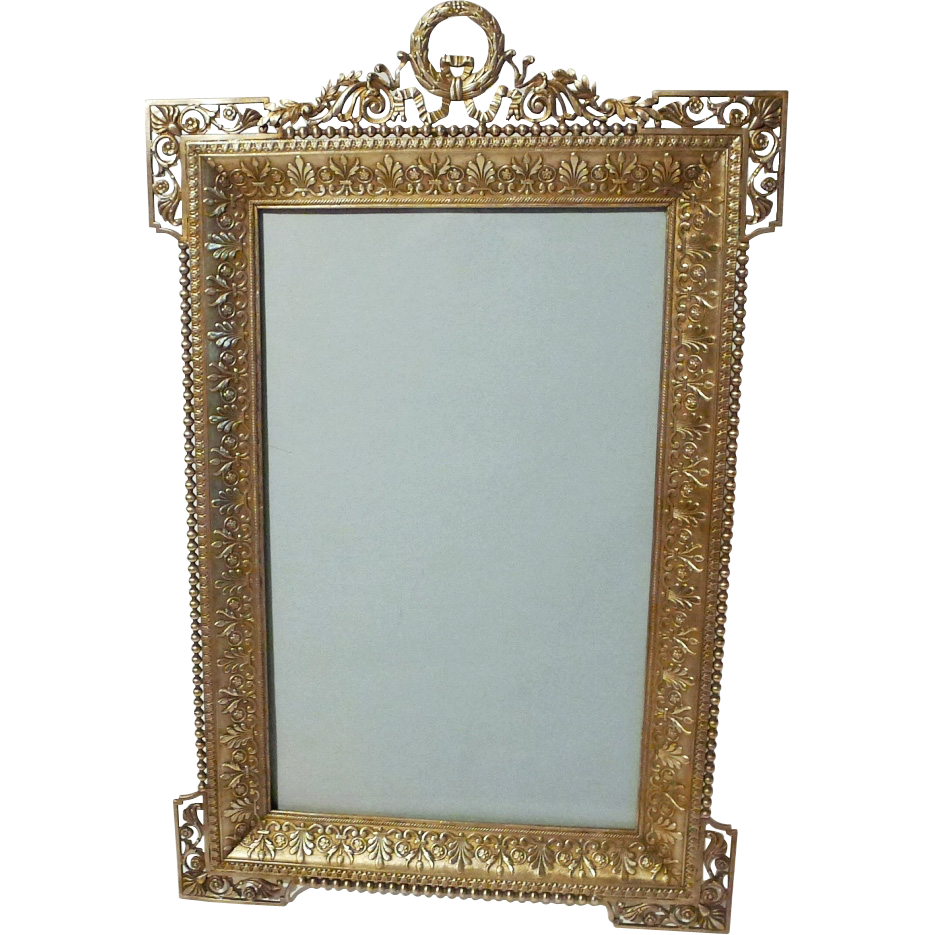 "FRENCH Ornate BRONZE Antique Frame 11 3/4"" Tall"