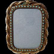 Twisted BRASS Blue Dot ENAMEL Frame 1880s