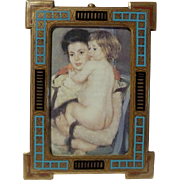 French BRONZE Blue Red Black Enamel Antique Picture Frame