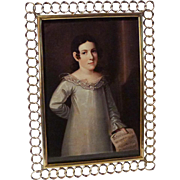 """12"""" ENGLISH BRASS RING Antique Picture FRAME Beveled Glass"""
