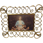 Brass Loop Horizontal Vertical CONVERTIBLE Picture Frame 1890s
