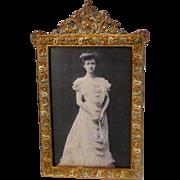 Antique Brass & ENAMEL Picture Frame Royal Mfg. Co.