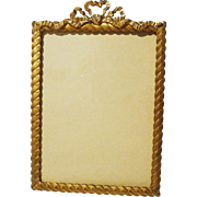 GOLD-PLATED Rope Twist Bow Top Antique Picture Frame