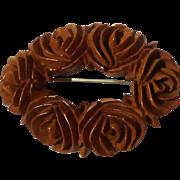 Carved BAKELITE Flower Pin 1920s-40s