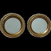 Miniature Brass Round Spiral RING Antique Picture Frames Pair
