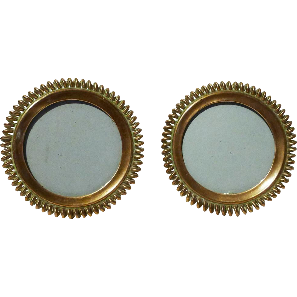Miniature brass round spiral ring antique picture frames