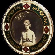 Miniature Round Red, White, Green Enamel Art Deco Picture Frame