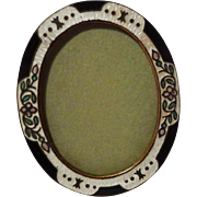 Miniature German Silver Oval Enamel Picture Frame with Flowers