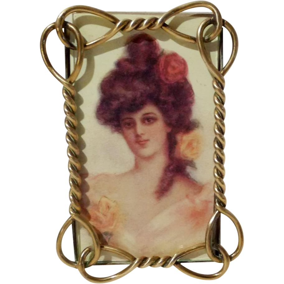 Brass Twist & Loop Antique CDV Picture Frame 1880s
