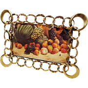 HORIZONTAL Antique English Brass Ring Picture Frame Larger Corners