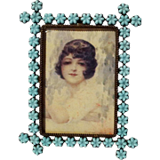"Blue Glass FLOWER Antique Picture Frame  4"" x 5"""