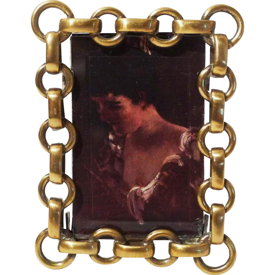 Miniature Antique Brass RING Picture Frame Beveled Glass