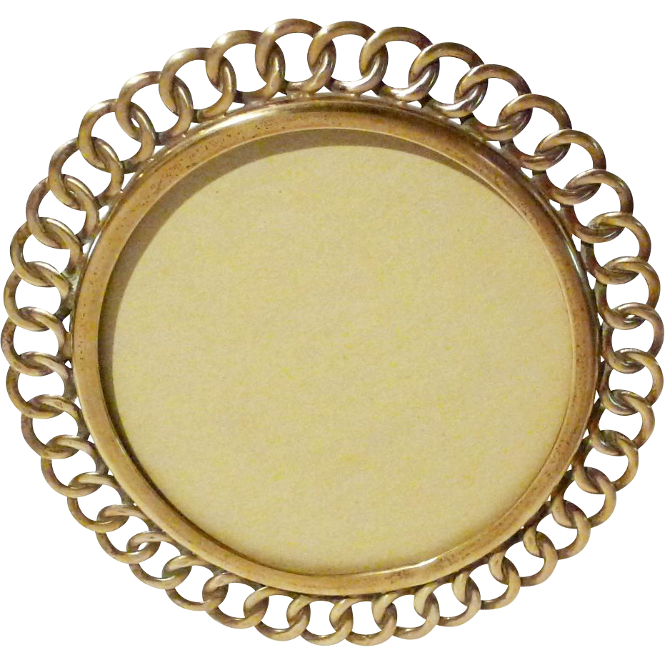 Quot round brass ring antique picture frame from