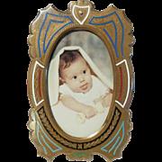 French Bronze ENAMEL Antique Picture Frame CDV