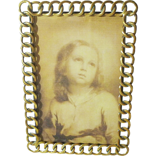 English Brass Thick Ring Antique Picture Frame
