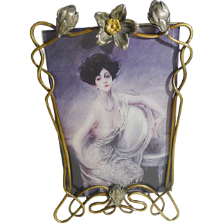 Mixed Metal Art Nouveau D.R.G.M. Picture Frame