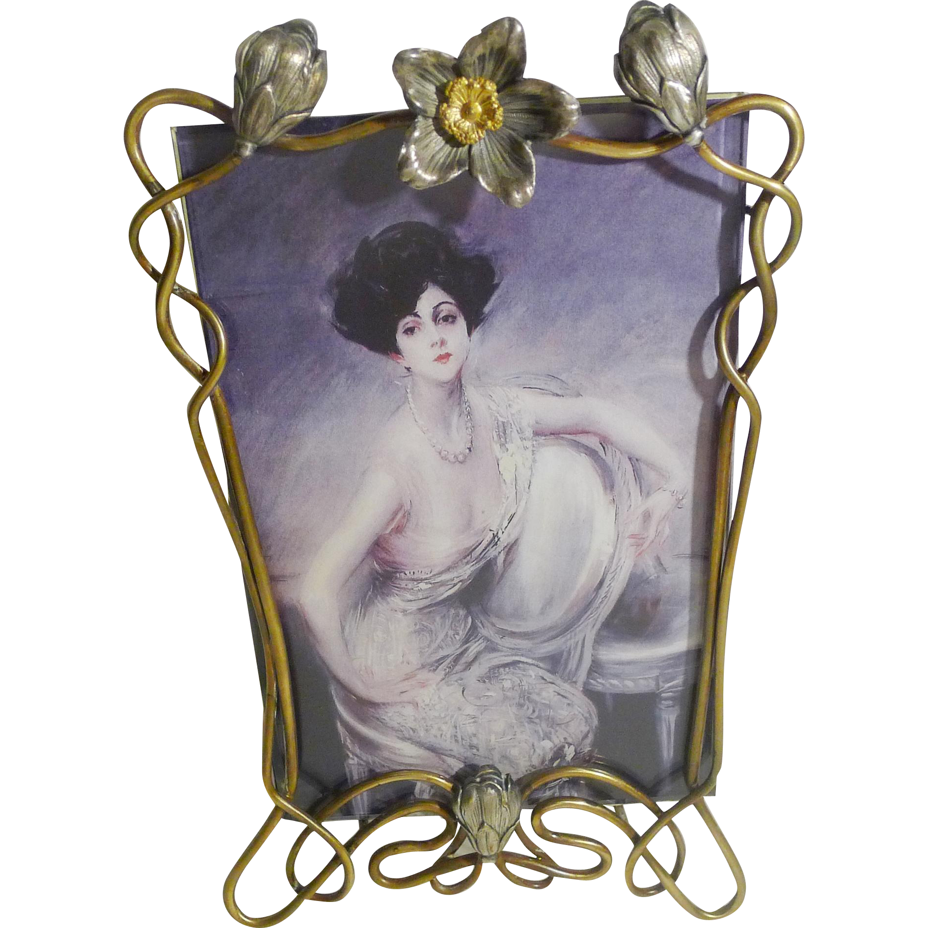 Mixed Metal Art Nouveau D.R.G.M. Picture Frame