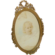 French Bronze Oval Picture Frame Convex Glass