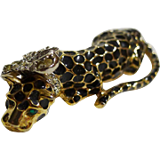 Kenneth Lane Leopard Enamel Rhinestone Pin